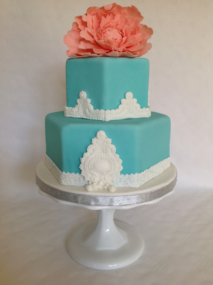 Turquoise And White Wedding Cake With Coral Peony Www