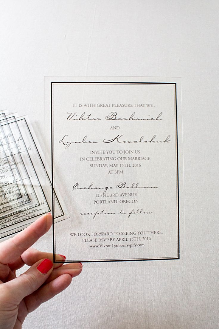These classic acrylic wedding invitations were printed