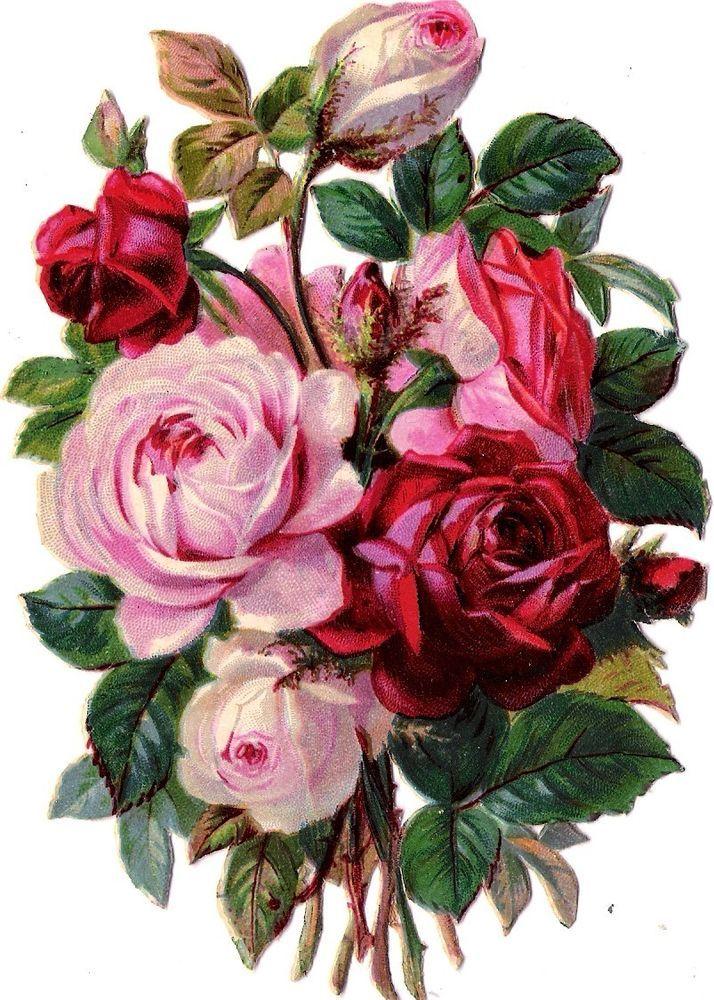 Oblaten Glanzbild scrap die cut chromo Blume 14,5 cm  Rosen Strauß