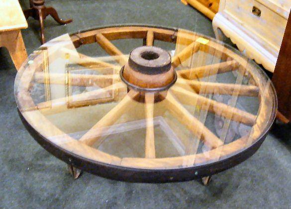218d Wagon Wheel Glass Top Coffee Table W Iron Legs In