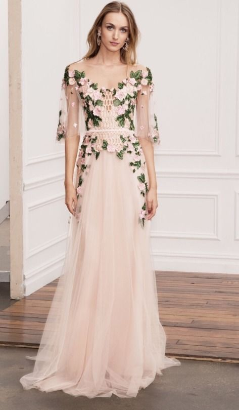 I can see Liz pulling this off. Dress by Marchesa Notte, spring 2018