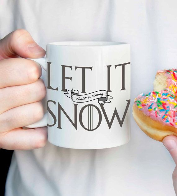 Let It Snow Winter is Coming mug Jon Snow by DesignGenesStudio