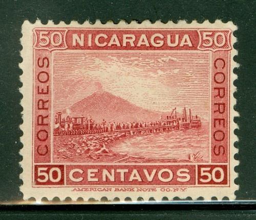 Nicaragua 1900-1905: Scott #130 MNG 50c Lake Momotombo Volcano Train