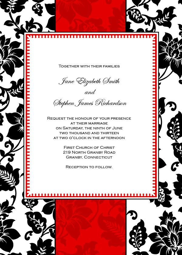 Art Deco Red Stripe With Black Damask Vintage Wedding Invita Free Printable Wedding Invitations Free Wedding Invitation Templates Printable Wedding Invitations