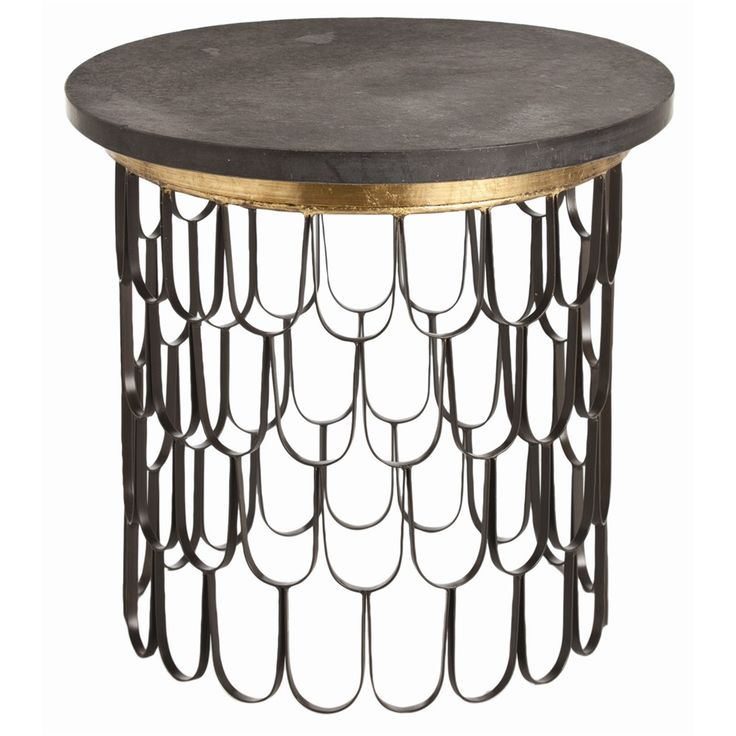 Orleans Iron/Marble End Table Black/Gold Leaf/Rough Hewn Black Marble  Specifications Dimensions: H: