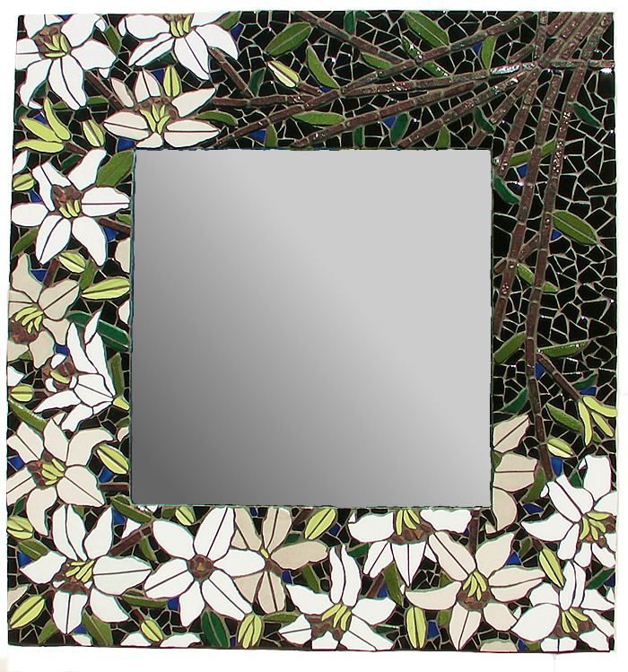 White Lilies Mosaic Mirror