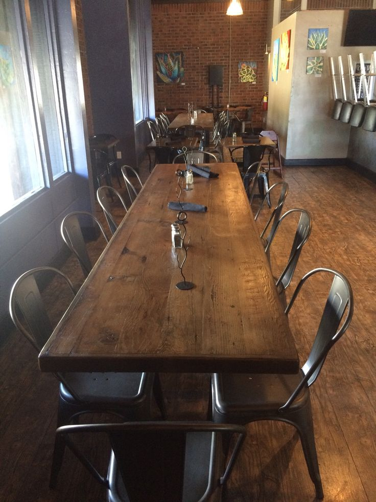 reclaimed wood table top with straight planks available in many sizes from restaurant and cafe supplies - Restaurant Dining Room Furniture