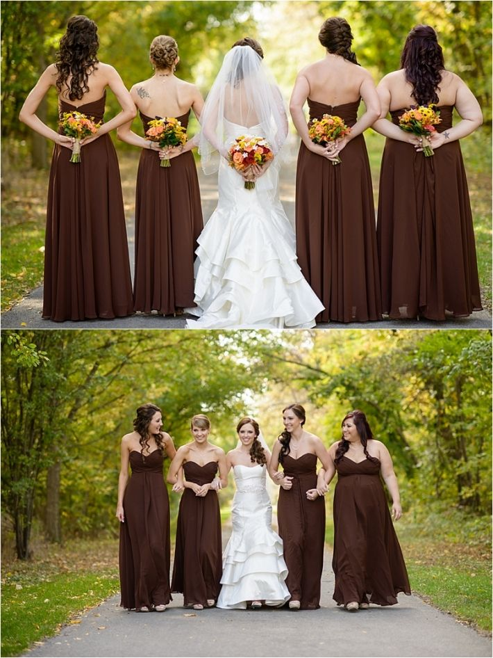 Stunning wine themed fall wedding gina cristine for Brown dresses for a wedding