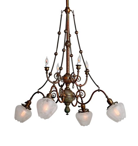 Remarkable Red Brass 8-Light Transitional Chandelier