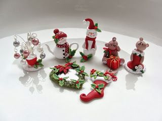Miniature Christmas in polymer clay by fizzyclaret