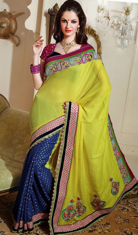Viscose Awesome half n half saree collection