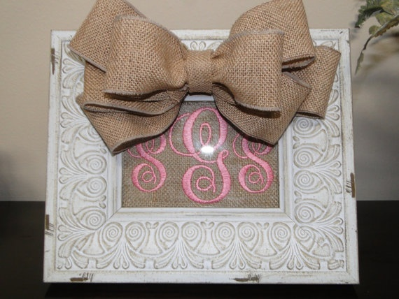 Personalized Burlap Picture Frame by AnnaDrewDesigns on Etsy, $45.00