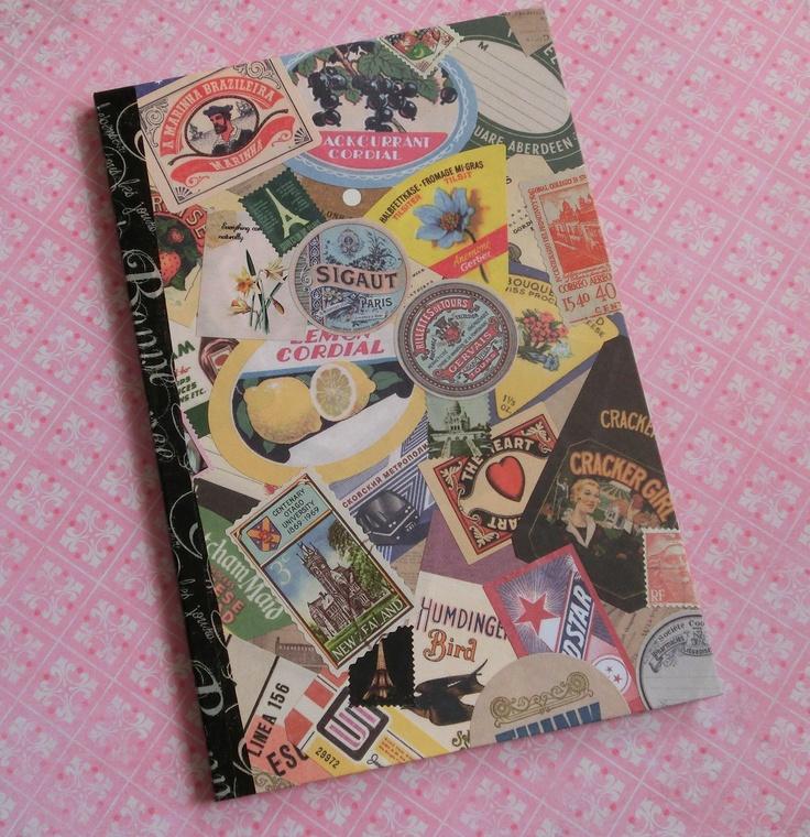 Diy Book Cover Collage ~ Handmade journal crafts diy collage vintage