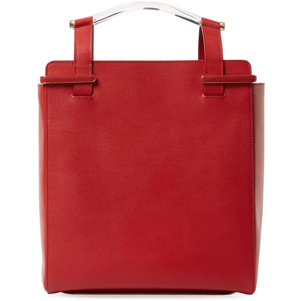 Charlotte Olympia Women's Gable Leather Shopper Tote - Red ($800) ❤ liked on Polyvore featuring bags, handbags, tote bags, red, genuine leather tote, red tote bag, red leather handbags, leather tote shopper and red leather purse