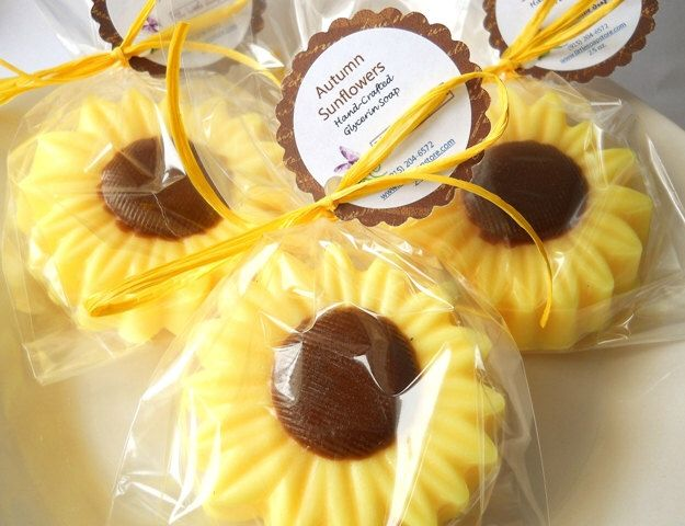 20 Sunflower Soap Party Favors, Fall Soap Party Favors, Unique Bridal Shower Favors, Baby Shower Favors, Wedding Favors, Mini Soap Favors by TheLittleSoapStore on Etsy https://www.etsy.com/listing/203855198/20-sunflower-soap-party-favors-fall-soap