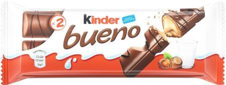 Bueno с лесными орехами 43 г  — 49р. --------------------------- Вафли Kinder Bueno 43 г. Xрустящая вафля, покрытая молочным шоколадом с нежной молочно-ореховой начинкой. Две хрустящие вафли покрытые молочным шоколадом состоят из четырех ячеек внутри которых расположен восхитительный ореховый крем. Благодаря компактной упаковке Kinder Bueno можно давать ребёнку в школу и брать с собой на работу, дополнять им завтрак и полдник. Лёгкий и чрезвычайно нежный вкус не оставит равнодушным ни Вас…
