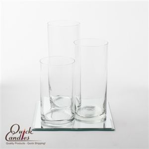 Eastland Square Mirror and Cylinder Vase Centerpiece Set of 36 | Decor | Glass | Mirror | Quick Candles