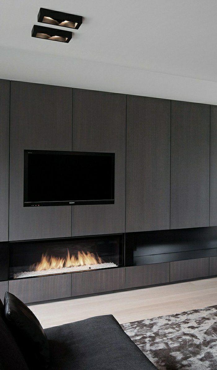 le meuble t l en 50 photos des id es inspirantes chemin e d corative plafond blanc et. Black Bedroom Furniture Sets. Home Design Ideas
