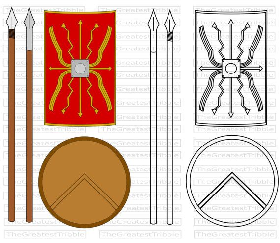 Ancient Spartan and Roman Spear and Shield by TheGreatestTribble