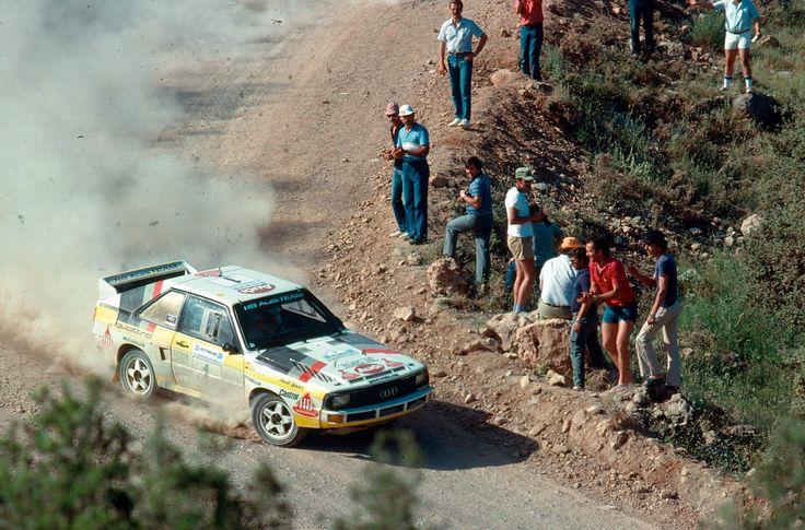 Walter Röhrl and Christian Geistdörfer sliding an Audi quattro at Acropolis Rally 1984