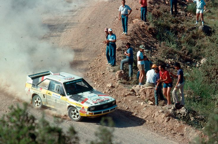 Walter Röhrl and Christian Geistdörfer sliding an Audi quattro at Acropolis Rally 1984