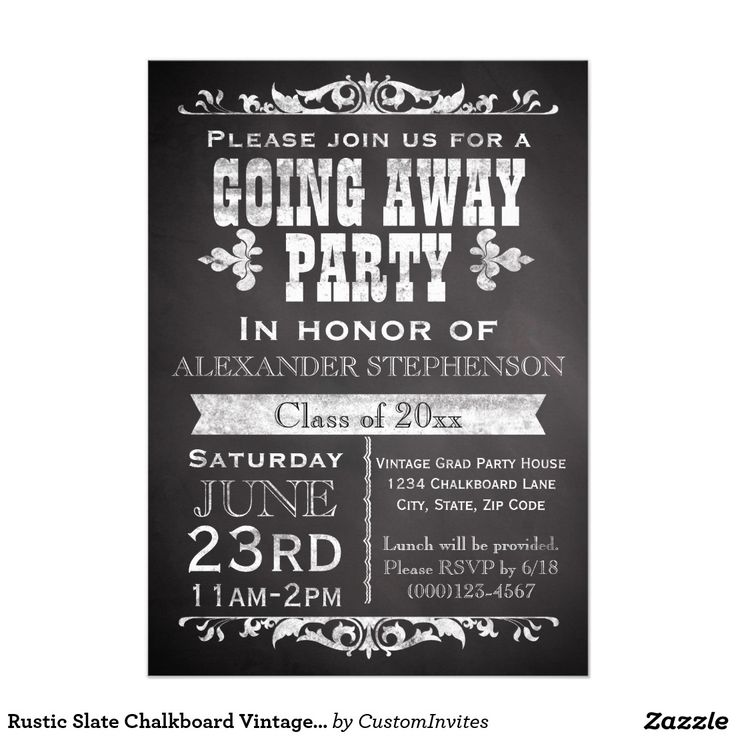 wedding party invitation message%0A Rustic Slate Chalkboard Vintage Going Away Party     X     Invitation Card