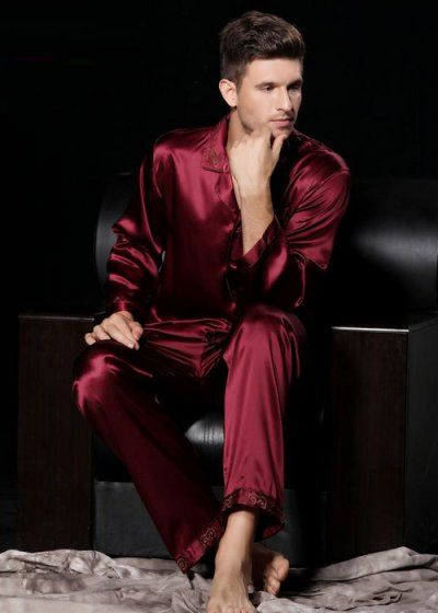 Red Mens Pyjamas from pure silk NH1027