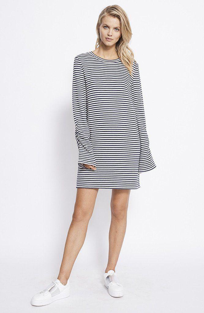 STAPLE THE LABEL - Ub1702057 Staple Texture Dress - Navy/White Stripe