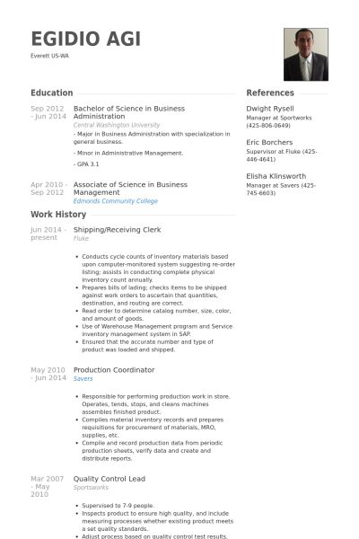 clerk resume samples visualcv database sample for shipping and receiving free template