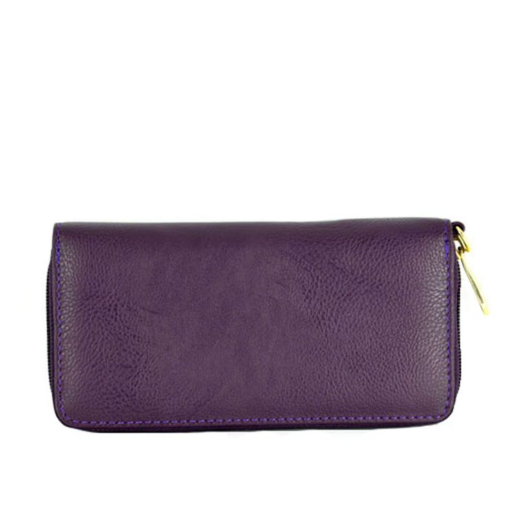 Purple Colour PVC Women Purse with Zipper