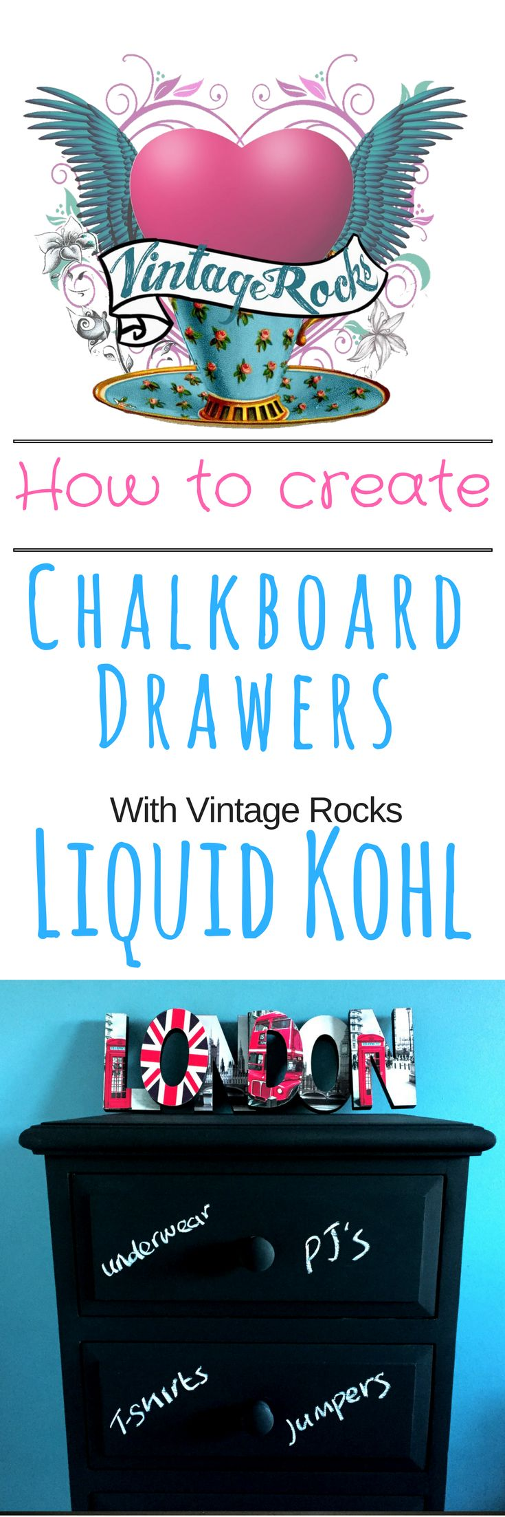 How to create blackboard furniture without sanding or priming with Vintage Rocks Liquid Kohl chalky matt furniture paint.  Label drawers, scribble on tables or walls.