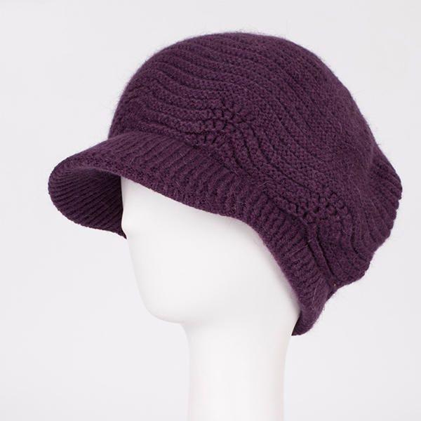 Women Wool Knitted Warm Octagonal Cap Solid Flexible Casual Hats at Banggood