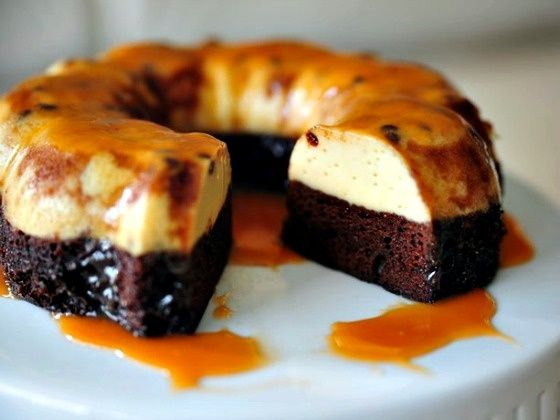 Cake: 1 jar (12.25 oz) caramel topping 1 box Betty Crocker SuperMoist triple chocolate fudge cake mix 1 cup water 1/2 cup vegetable oil 3 eggs Flan:1 can (14 oz) sweetened condensed milk (not evaporated) 1 cup milk 4 eggs