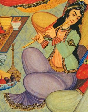 Persian Woman Depicted in 18th Century Painting: Hasht-Behesht Palace women playing the Ney