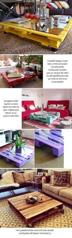 Como fazer uma mesa de centro usando paletes ou pallets  BramareBramare