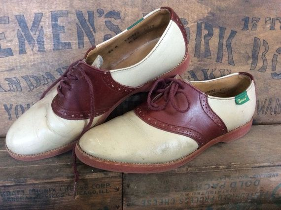Vintage Estate Tan and Brown Bass Saddle Oxford by MADVintology, $20.00