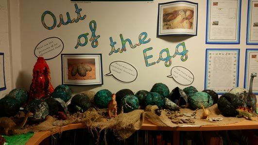 Dinosaur egg arts and crafts by KS1.
