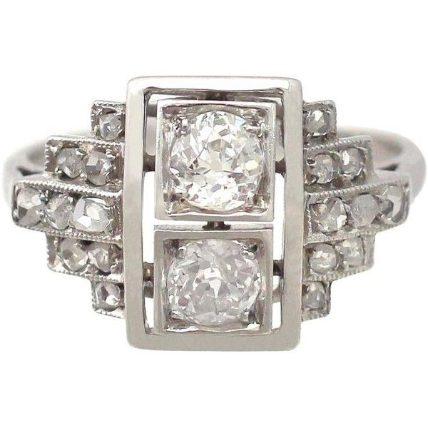 Preowned 1940s Diamond And White Gold Cocktail Ring ($2,848) ❤ liked on Polyvore featuring jewelry, rings, engagement rings, white, pre owned engagement rings, vintage diamond rings, round engagement rings and white gold engagement rings