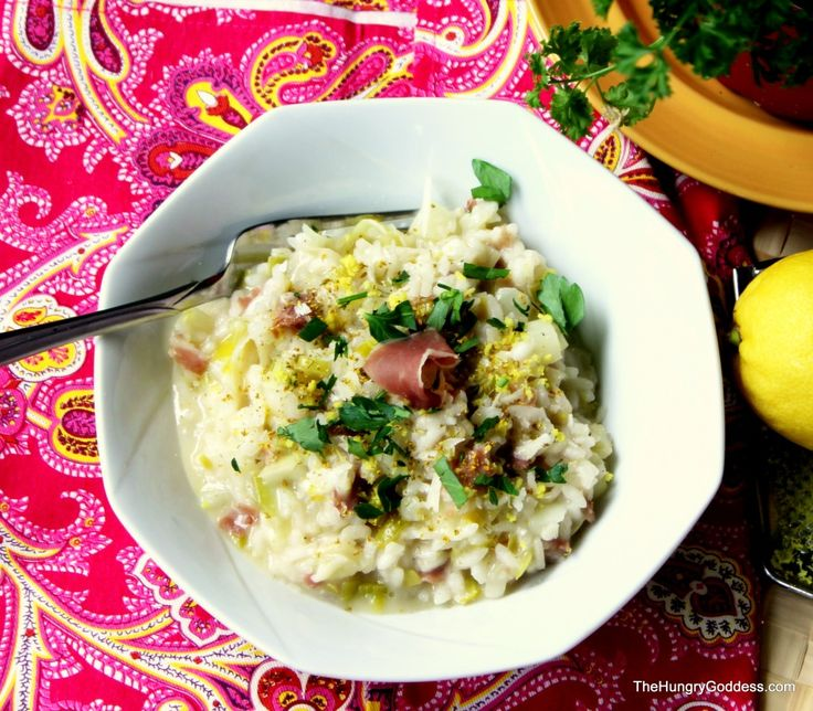 Fennel and Leek Risotto with Prosciutto and Fennel Pollen from The Hungry Goddess