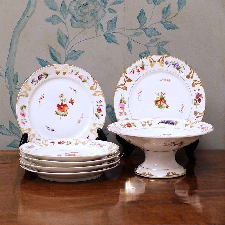 Juego de compotera y seis platos con decoraci n de flores - Decoracion de platos ...