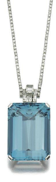 Diamond and aquamarine pendant, Mauboussin,  1930's.