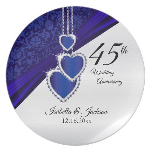 45th Wedding Anniversary Keepsake Design Plate