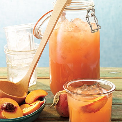 Peach Lemonade  ..Peaches add sweet, mellow roundness to traditional lemonade. Stir in white rum or bourbon for grown-ups.