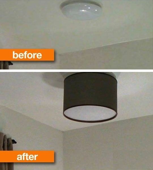 Replace your plain old ceiling light with a lampshade. | 40 Easy DIYs That Will Instantly Upgrade Your Home