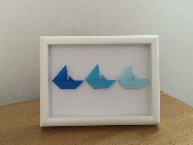 Origami boat frame by OzigamiDesigns on Etsy https://www.etsy.com/listing/263291788/origami-boat-frame
