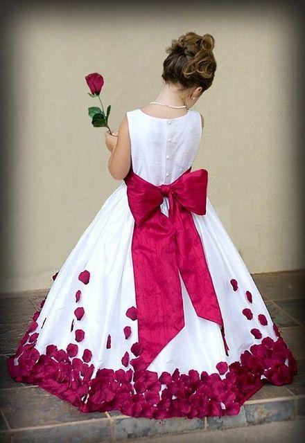 F3019 Encantador vestido de Baile Vermelho Exclusivo Até O Chão Flores Bonitas Apliques Pageant Flower Girl Vestidos Com Cinto de Laço Para O Casamento