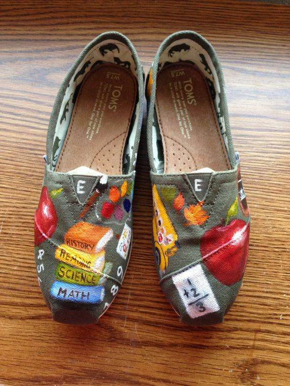 Handpainted TOMS Shoes- Elementary School TEACHER- Back To School Theme- OLIVE Shoes- (I supply the shoes)