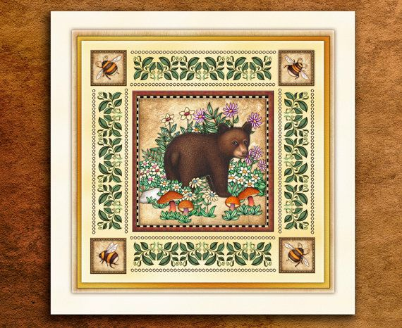 "Forest Animal Art Print by Dan Morris titled ""Bear Cub"". Forest animals art, forest critters,bear cub"