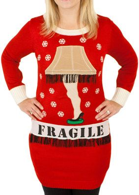 Women's A Christmas Story Lighted Leg Lamp Ugly Sweater in Red