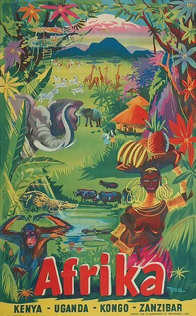 Affiche: Afrika Artiste: Børge Larsen ....reépinglé par Maurie Daboux ❥•*`*•❥